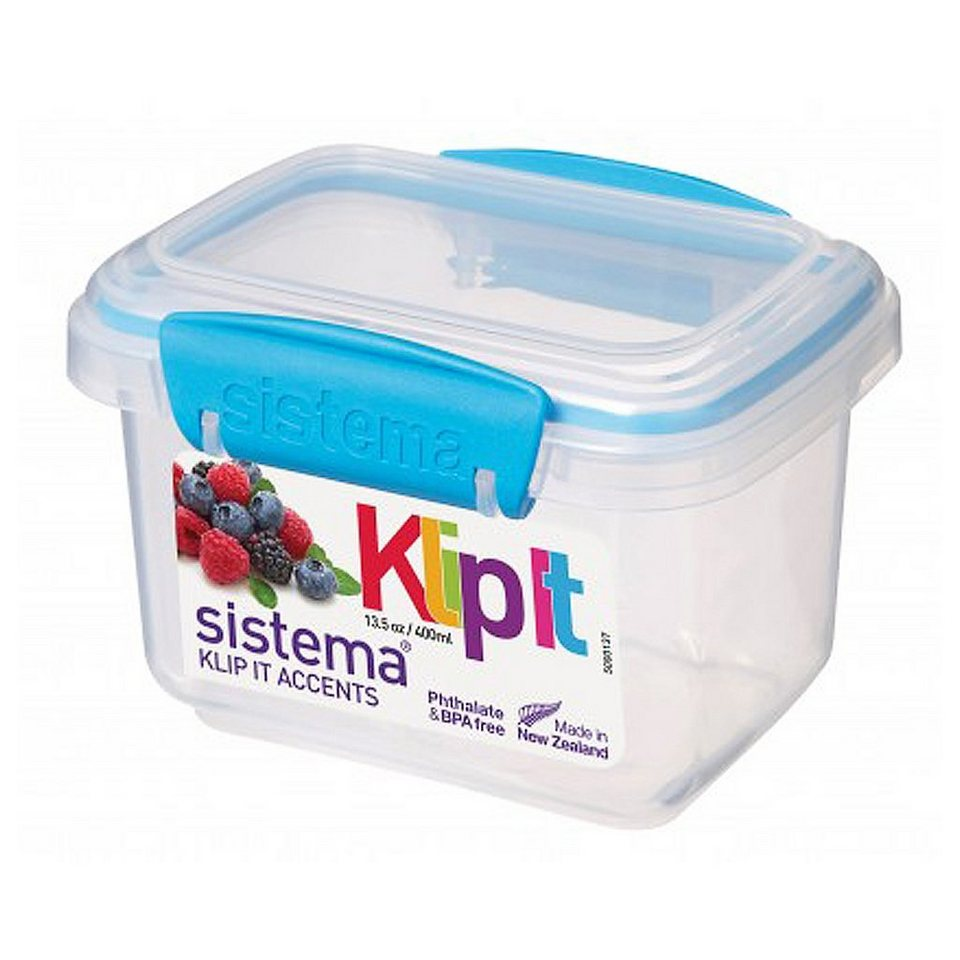 sistema sistema Frischhaltedose Klip it accents, 0.4 l blau in transparent, blau