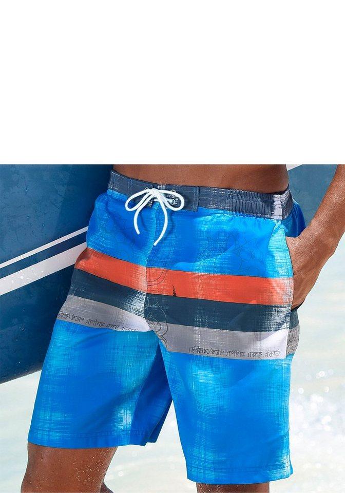 Chiemsee Badeshorts mit seitlichen Eingrifftaschen in blau-orange