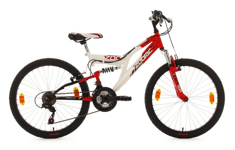 Fully Jugend-Mountainbike, 24 Zoll, rot-weiß, 18-Gang-Kettenschaltung, »Zodiac«, KS Cycling in weiß-rot