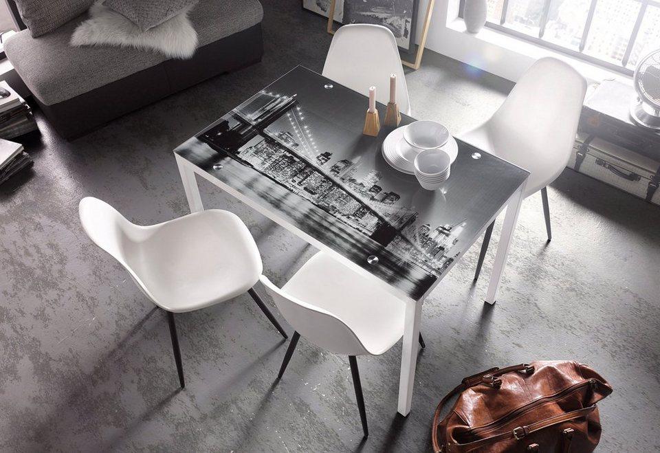 Stühle (2 oder 4 Stück) in weiß/anthrazit