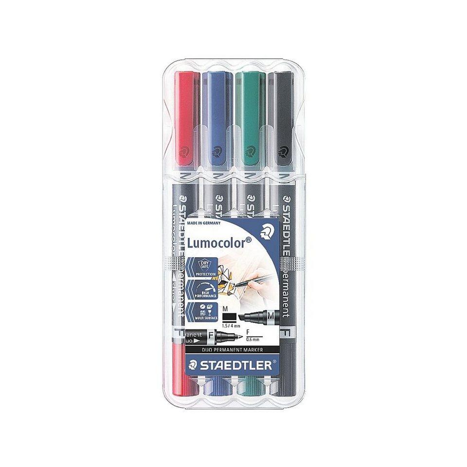 Staedtler 4er-Pack Permanent-Marker »Lumocolor permanent duo«