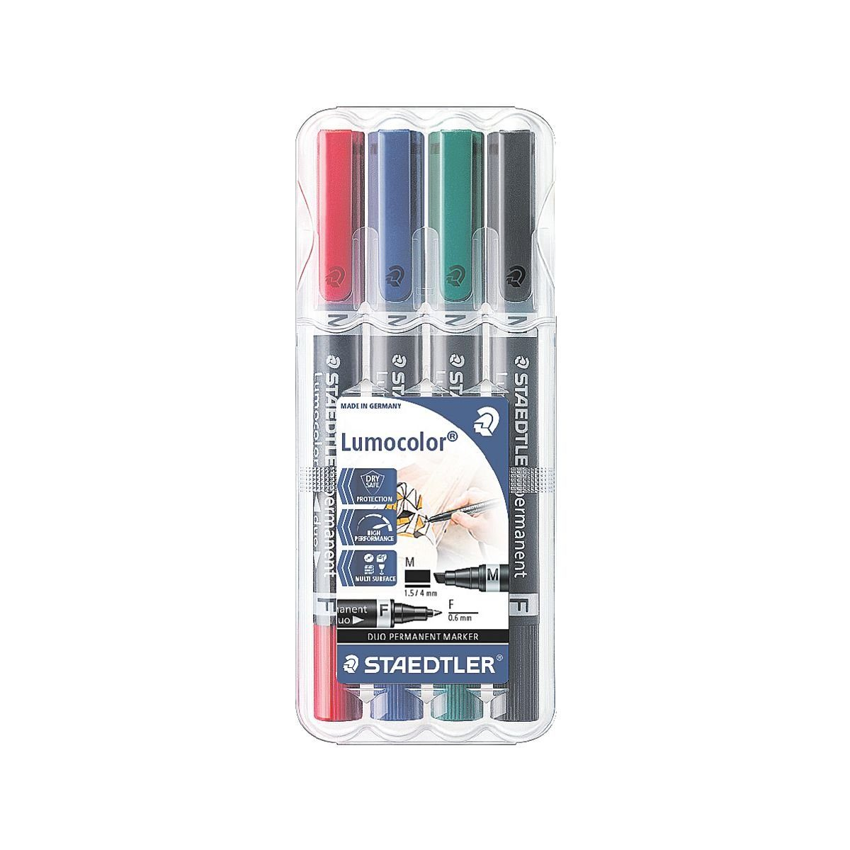 Staedtler 4er-Pack Permanent-Marker »Lumocolor permanent duo«