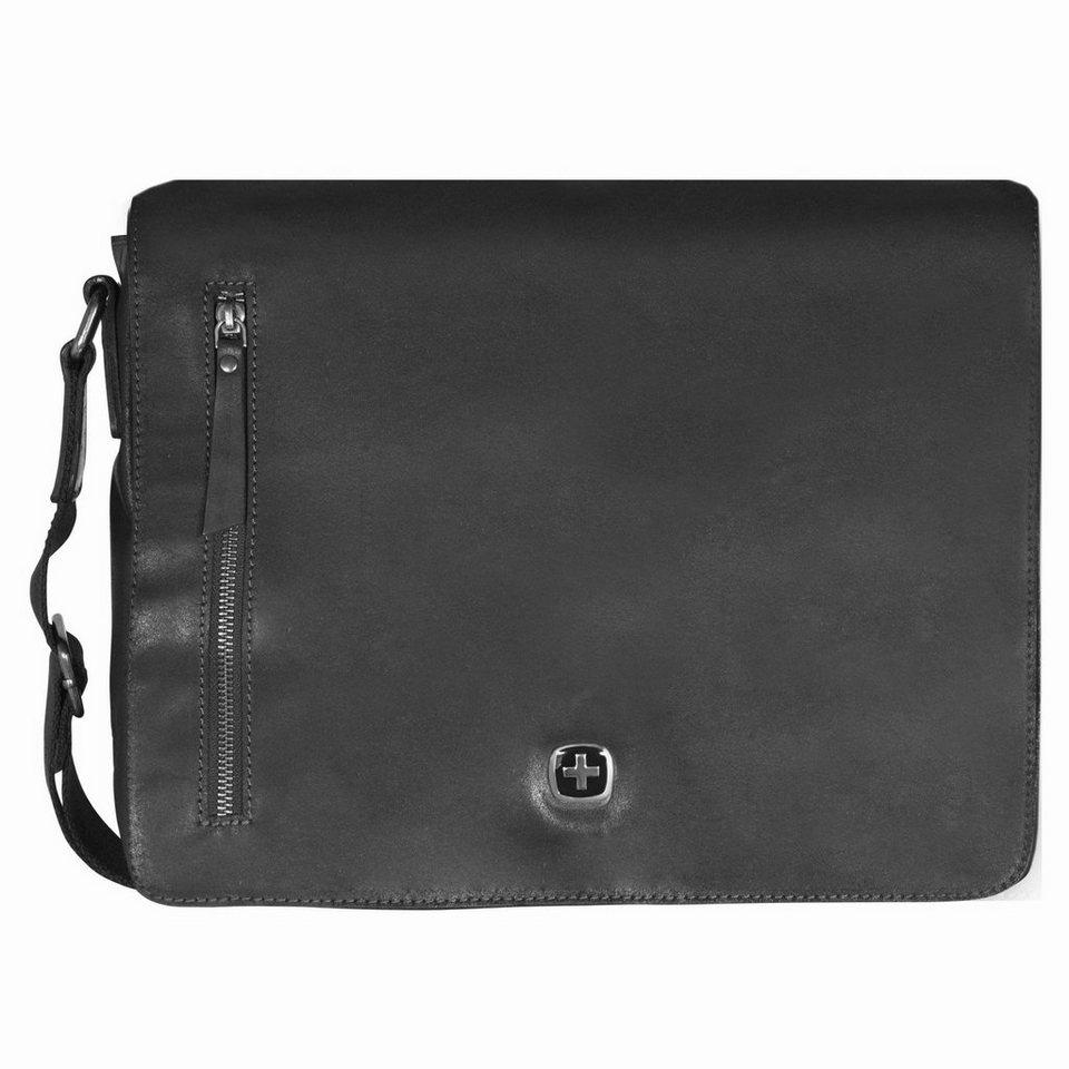 Wenger Cloudy Messenger Umhängetasche Leder 36 cm Laptopfach in schwarz