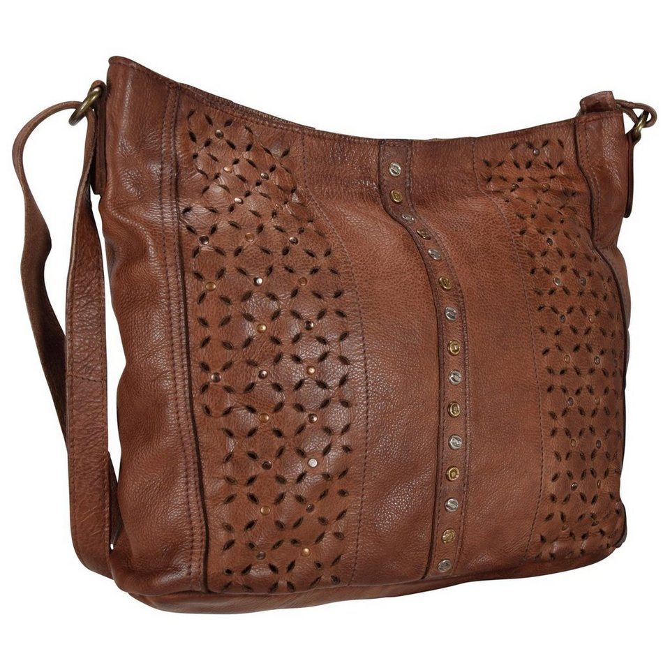 Billy the Kid Punched Shanti Schultertasche Leder 33 cm in cognac