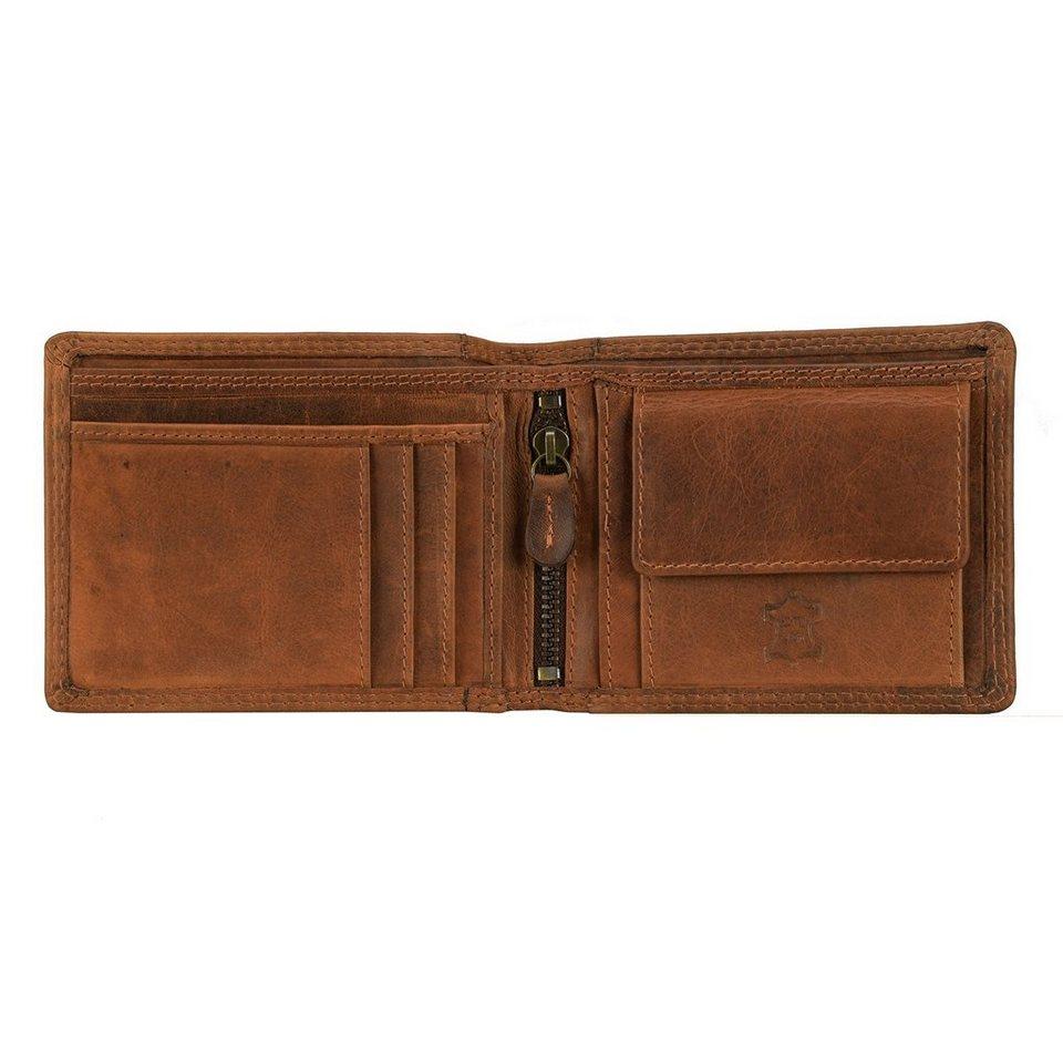 cocoono Geldbörse Querformat Leder 12 cm mit Reißverschlussfach in braun
