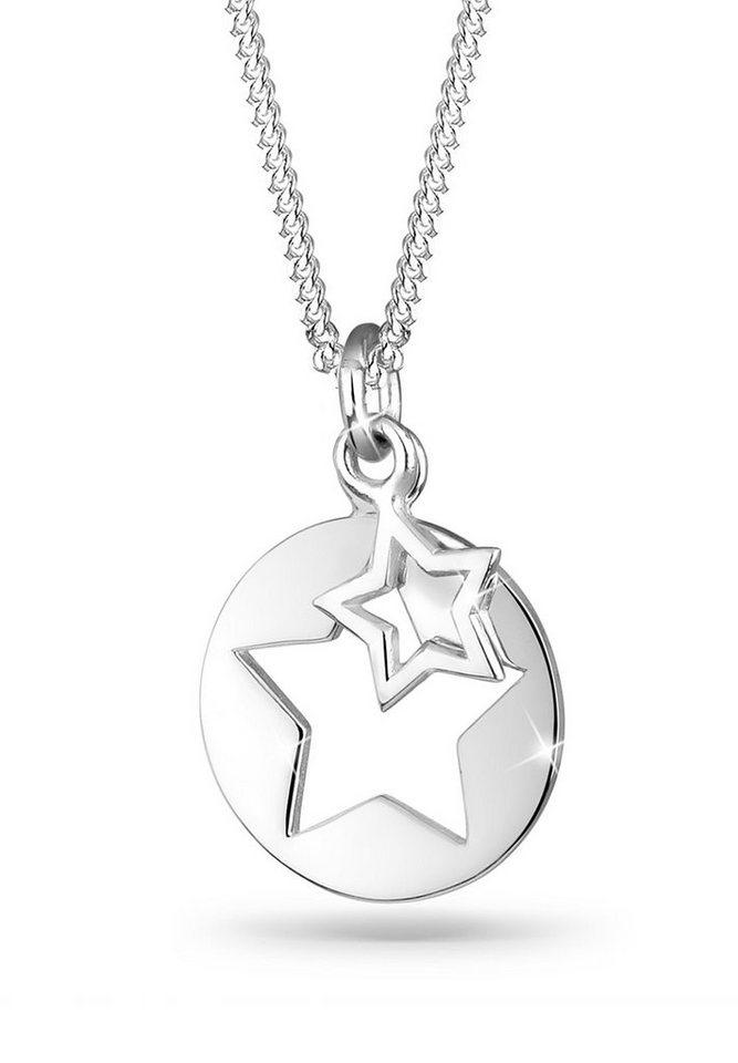 Elli Halskette »Stern Kreis Astro Layer 925 Silber« in Silber