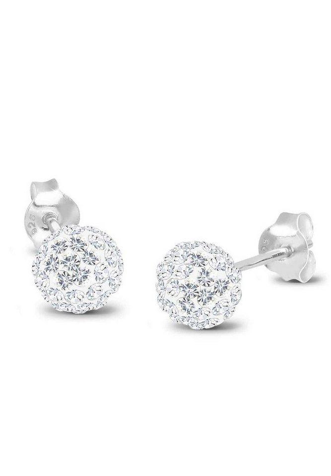 Elli Ohrringe »Kugel Swarovski® Kristalle Funkelnd Elegant Silber« in Weiß