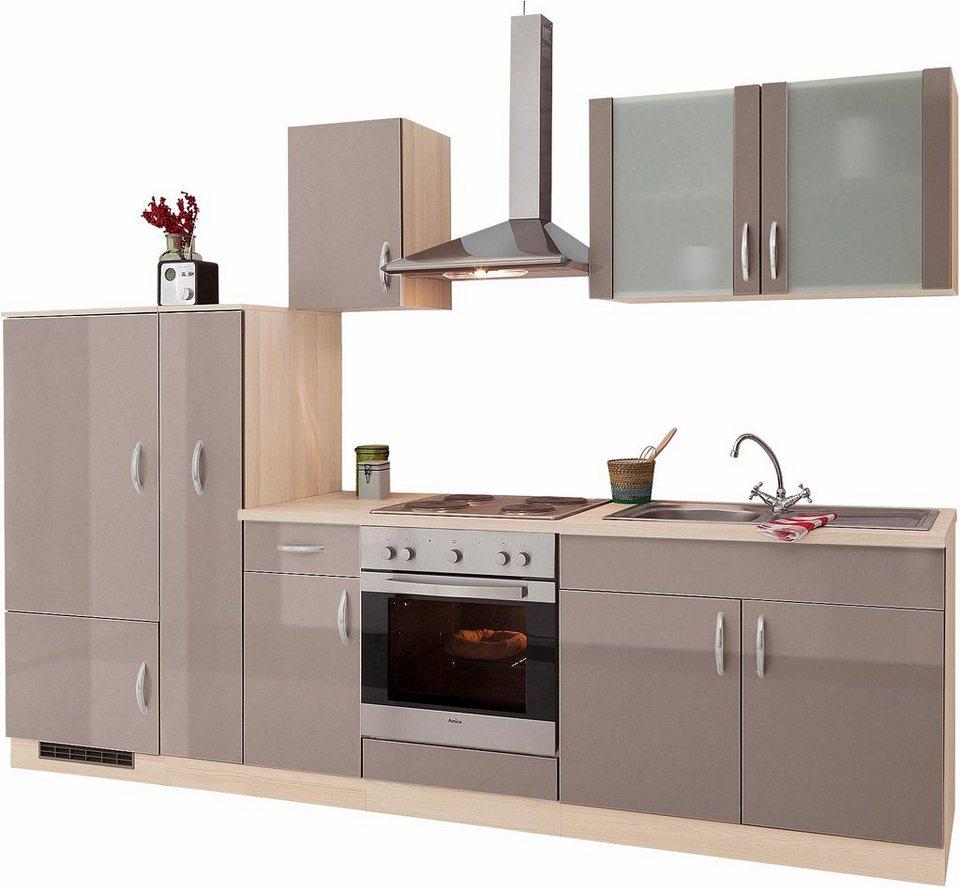 Küchenzeile »Madrid«, Breite 290 cm, mit E-Geräten in Trüffelfarben