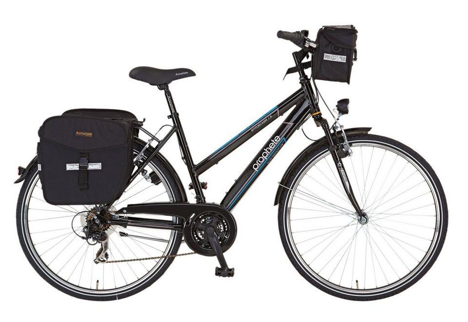 Prophete Damen Trekkingrad 28 Zoll, 21 Gang Shimano Tourney Kettenschaltung in schwarz