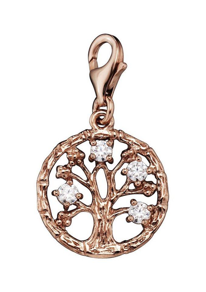Julie Julsen Charm-Einhänger mit Zirkonia , »Lebensbaum, JJCH9280.2« in Silber 925/roségoldfarben