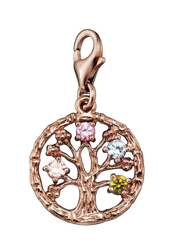 Julie Julsen Julsen Charm-Einhänger mit Zirkonia, »Lebensbaum, JJCH9280.9« in Silber 925/roségoldfarben