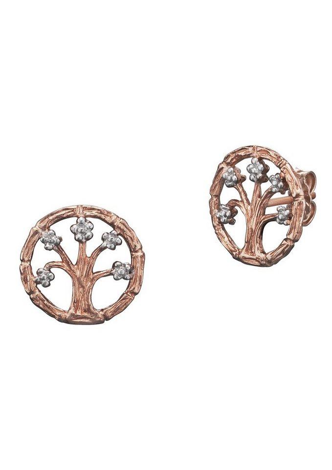 Julie Julsen Paar Ohrringe, »Lebensbaum, JJER8754.4« in Silber 925/roségoldfarben