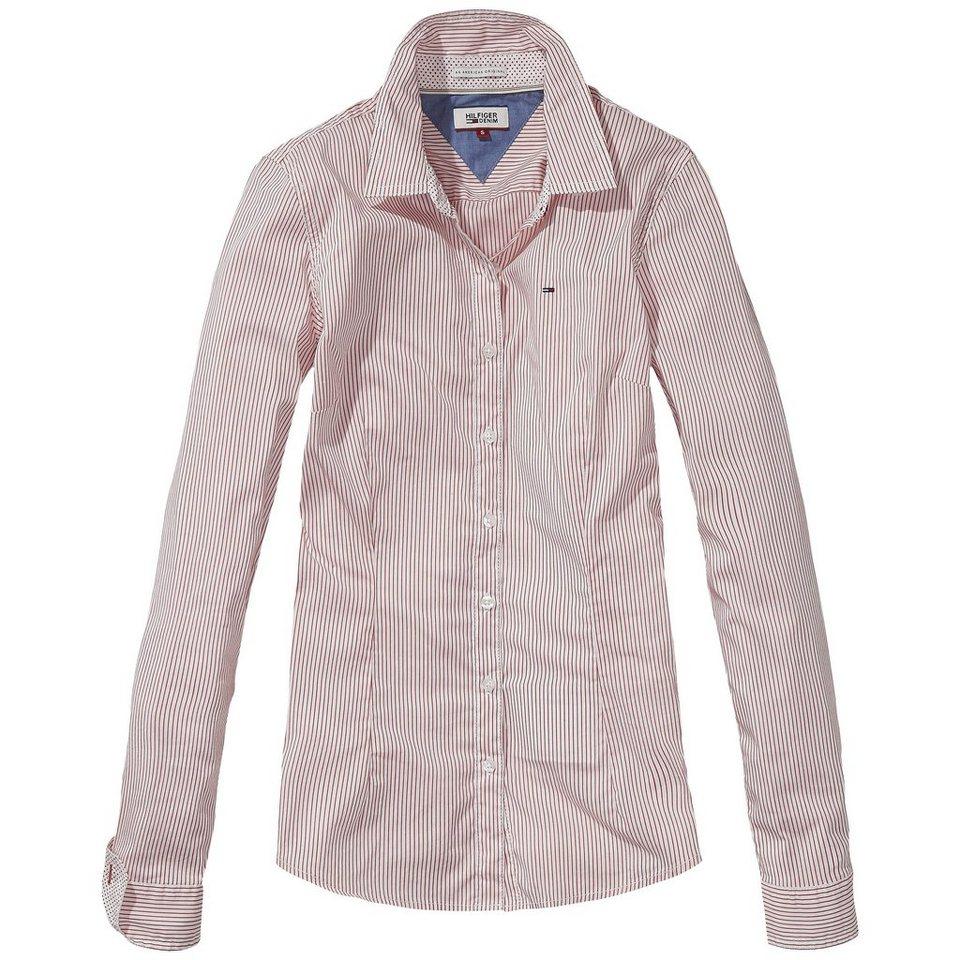 Hilfiger Denim Blusen »Basic stripe stretch shirt l/s 2« in SALSA / white