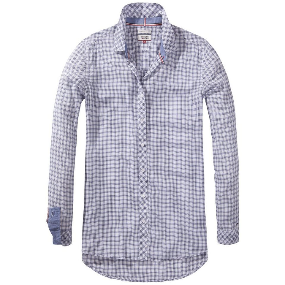 Hilfiger Denim Blusen »Basic check visc/ctn shirt l/s 5« in white / NAVY BLAZER