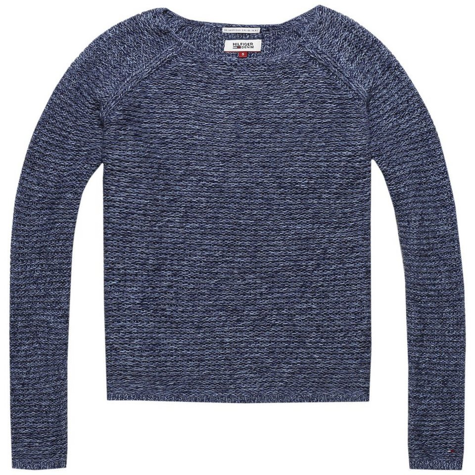 Hilfiger Denim Pullover »Basic twisted cn sweater l/s 6« in NAVY BLAZER/ MULTI