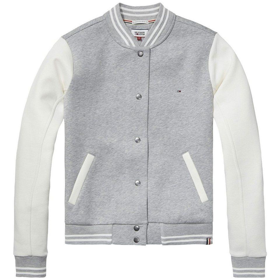 Hilfiger Denim Sweatshirts »Scuba varsity jkt l/s 13« in LIGHT GREY HTR / EGRET