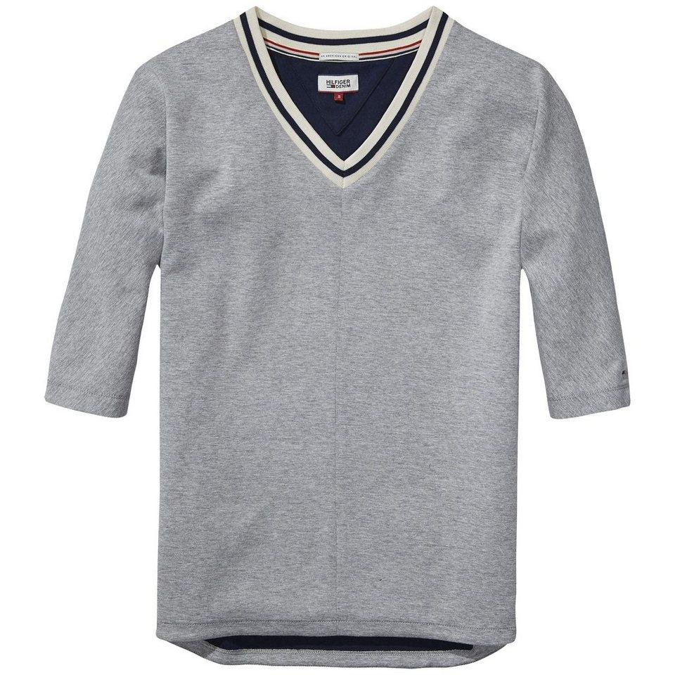 Hilfiger Denim Sweatshirts »Scuba vn hknit 3/4 11« in LIGHT GREY/ NAVY