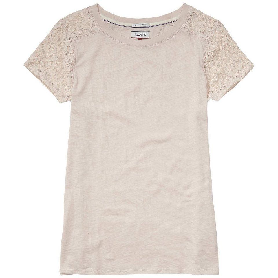 Hilfiger Denim T-Shirts (mit Arm) »Basic lace cn knit s/s 10« in PEACH WHIP