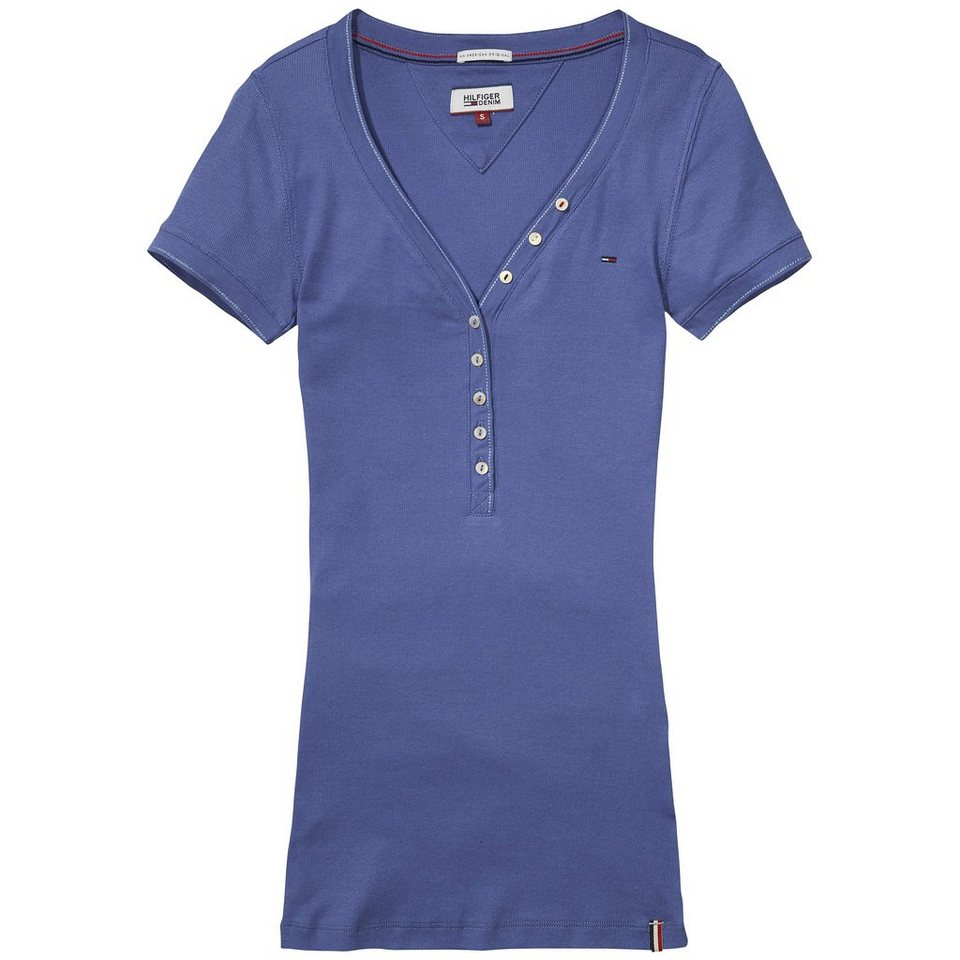 Hilfiger Denim T-Shirts (mit Arm) »Basic rib henley s/s 02« in BIJOU BLUE