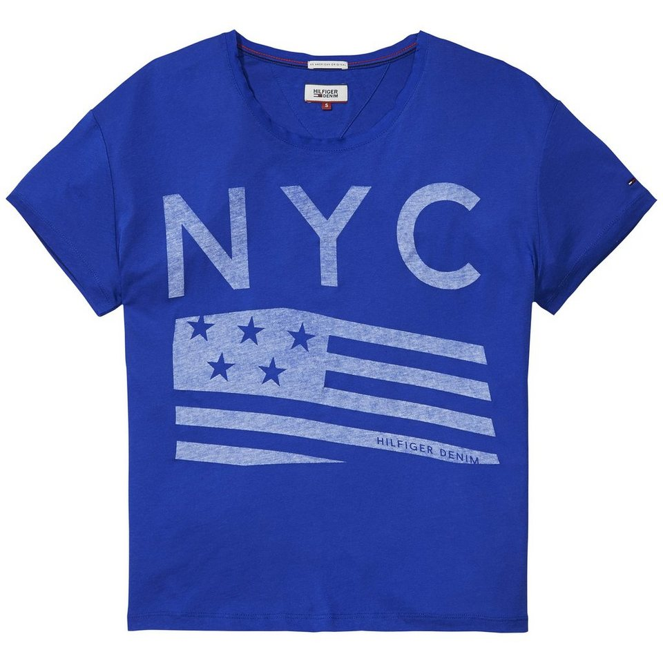Hilfiger Denim T-Shirts (mit Arm) »Basic co/mo cn tee ss 4« in SWATCH BLUE