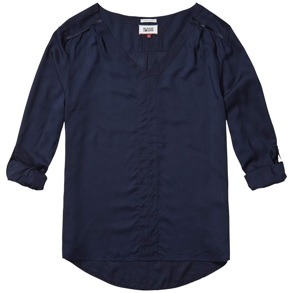 Hilfiger Denim Blusen »Basic viscose blouse l/s 9« in NAVY BLAZER
