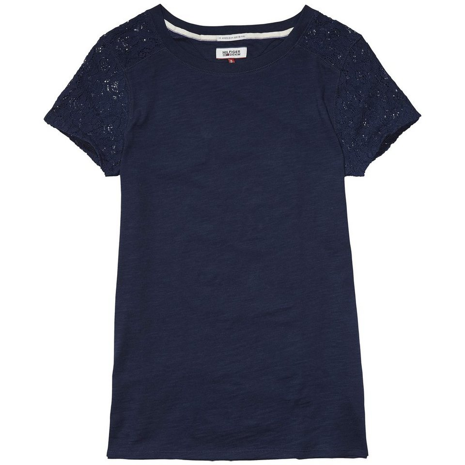 Hilfiger Denim T-Shirts (mit Arm) »Basic lace cn knit s/s 10« in NAVY BLAZER