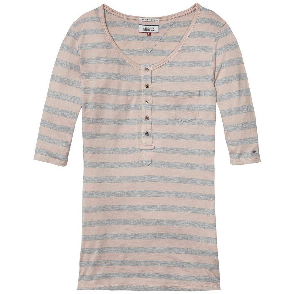 Hilfiger Denim T-Shirts (mit Arm) »Drapey slub stp henley s/s 14« in PEACH WHIP / GREY