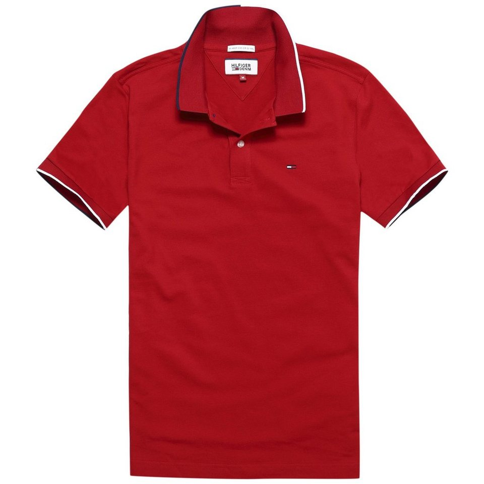 Hilfiger Denim Poloshirts (kurzarm) »Basic stretch polo s/s 5« in CHILI PEPPER