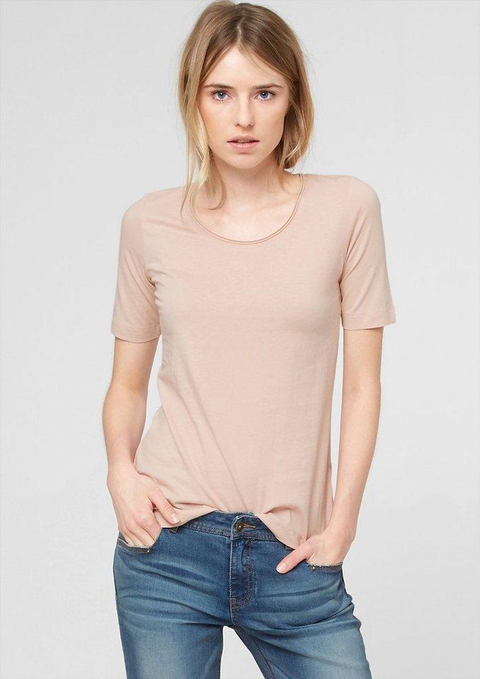 s.Oliver Jerseyshirt mit Rundhalsausschnitt in apricot nude