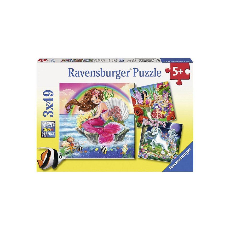 Ravensburger Puzzle-Set Welt der Fabelwesen 3 x 49 Teile