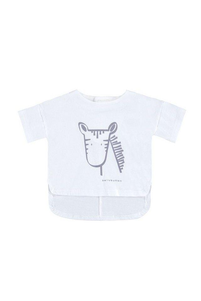 BELLYBUTTON Babyshirt Tierprint, runde Kanten in bright white