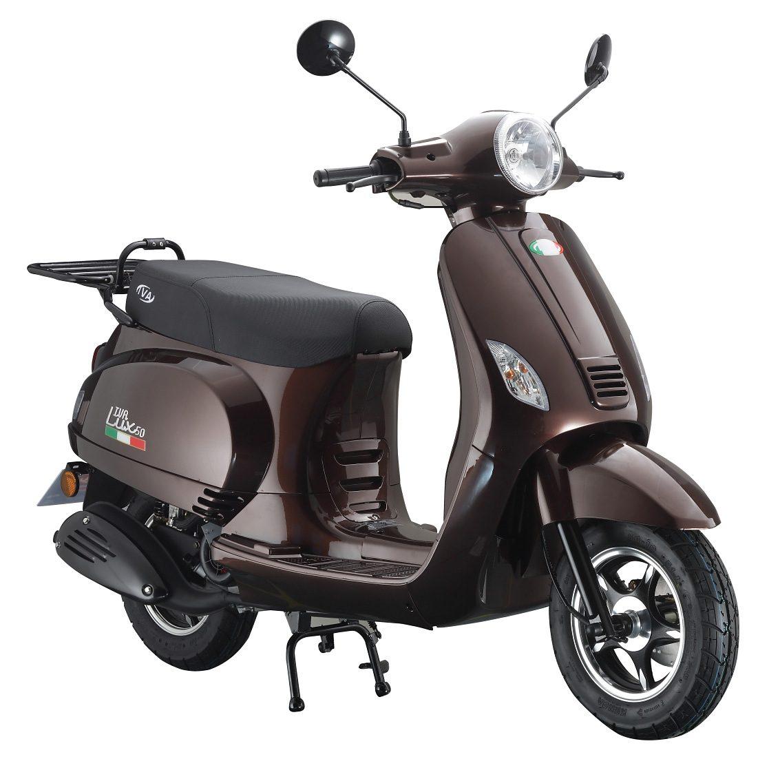 Motorroller, 50 ccm, 3 PS, 45 km/h, für 2 Personen, aubergine, »LUX«, IVA