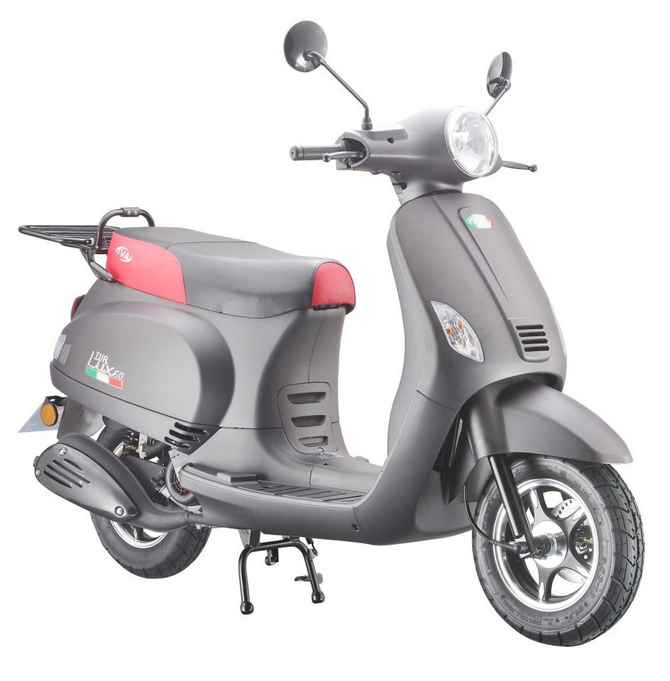 Mofaroller »LUX 50«, 50 ccm 25 km/h, für 1 Person, mattschwarz/rot in mattschwarz/rot
