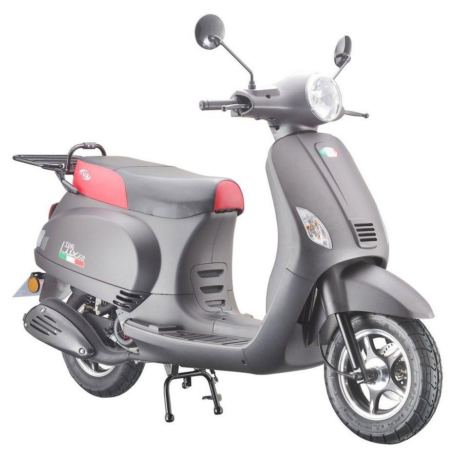 Motorroller »LUX 50«, 50 ccm 45 km/h, für 2 Personen, mattschwarz/rot in mattschwarz/rot