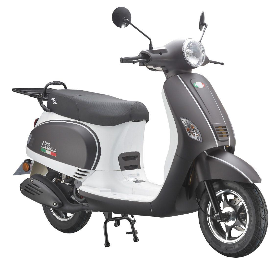 Mofaroller, 50 ccm, 3 PS, 25 km/h, für 1 Person, mattschwarz-weiss, »LUX«, IVA