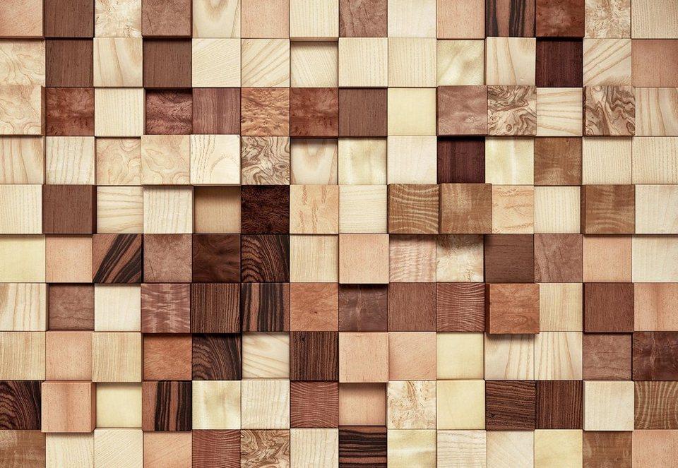 Komar Papiertapete »Lumbercheck«, 368/254 cm in braun/rot