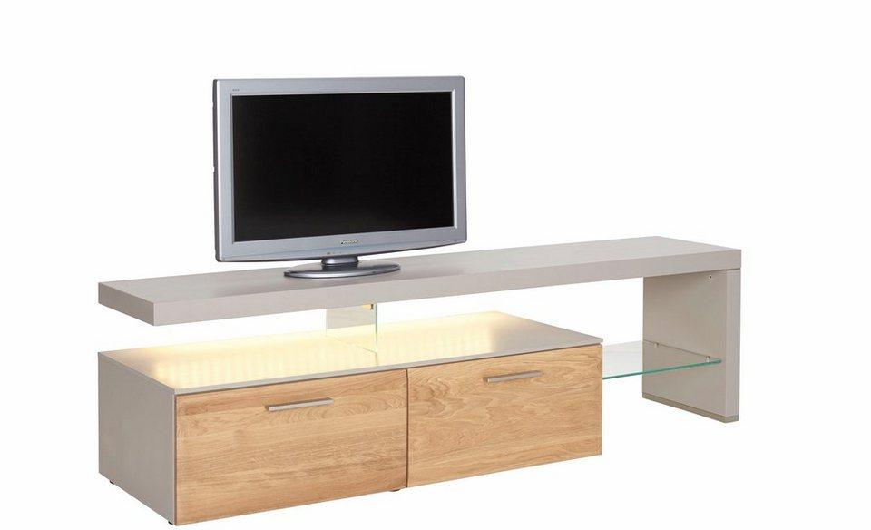 NETFURN BY GWINNER Lowboard mit TV-Brücke »SOLANO«, Lack fango, mit 2 Schubladen, Breite 195 cm in Asteiche gebürstet und geölt