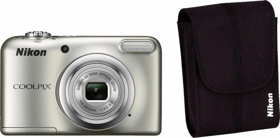 NIKON Coolpix A10 Kompakt Kamera, inkl. Tasche, 16,1 Megapixel, 5x opt. Zoom in silberfarben