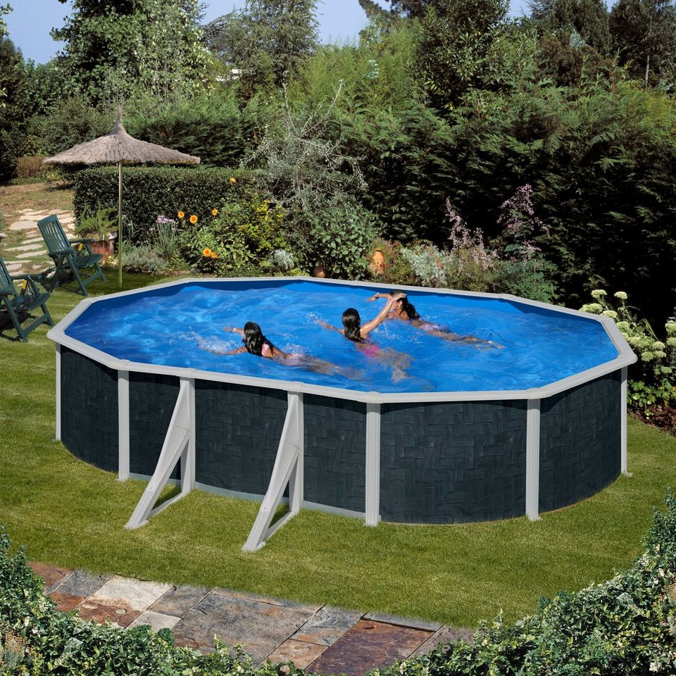 Summer fun set ovalpool rattan 5 tlg kaufen otto for Pool oval aufstellbecken