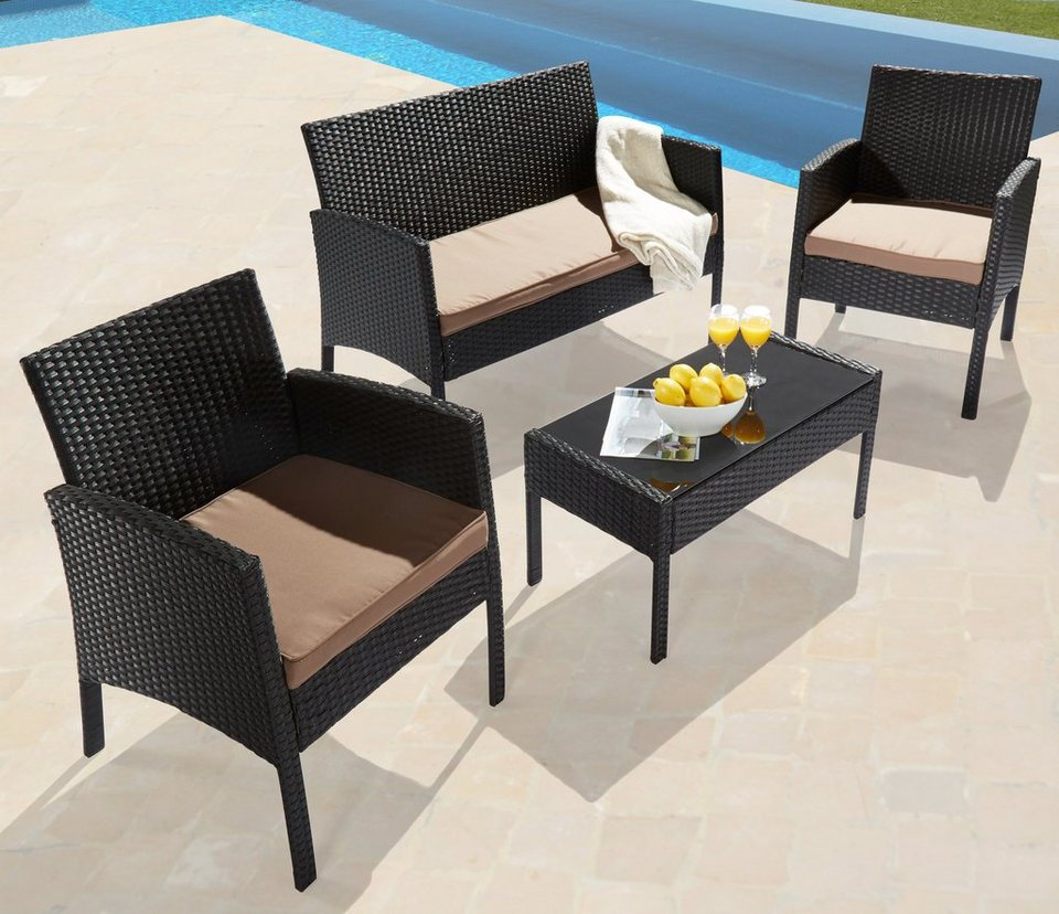 7 tlg loungeset caracas 2 sessel 2er sofa tisch 81x41 cm polyrattan schwarz online. Black Bedroom Furniture Sets. Home Design Ideas