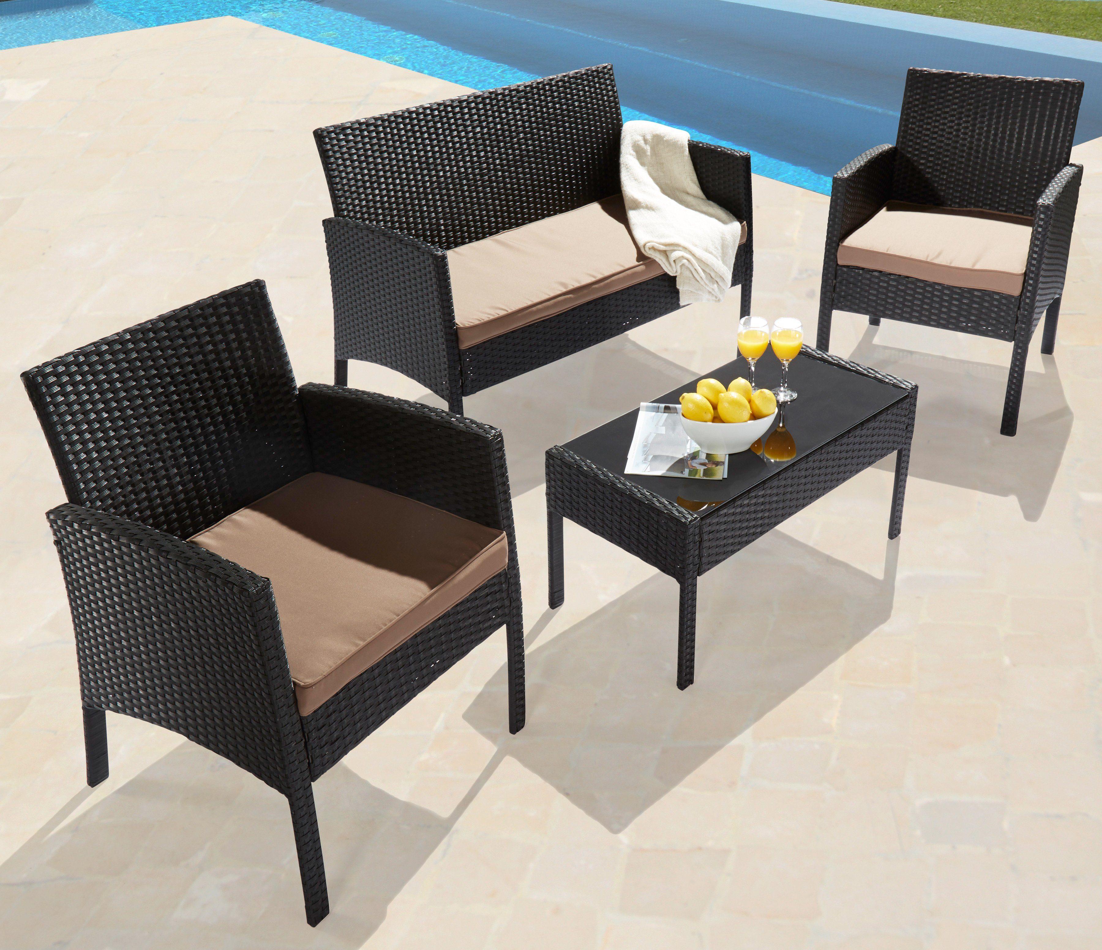 Loungeset »Caracas«, 7-tlg., 2 Sessel, 2er-Sofa, Tisch, Polyrattan, schwarz