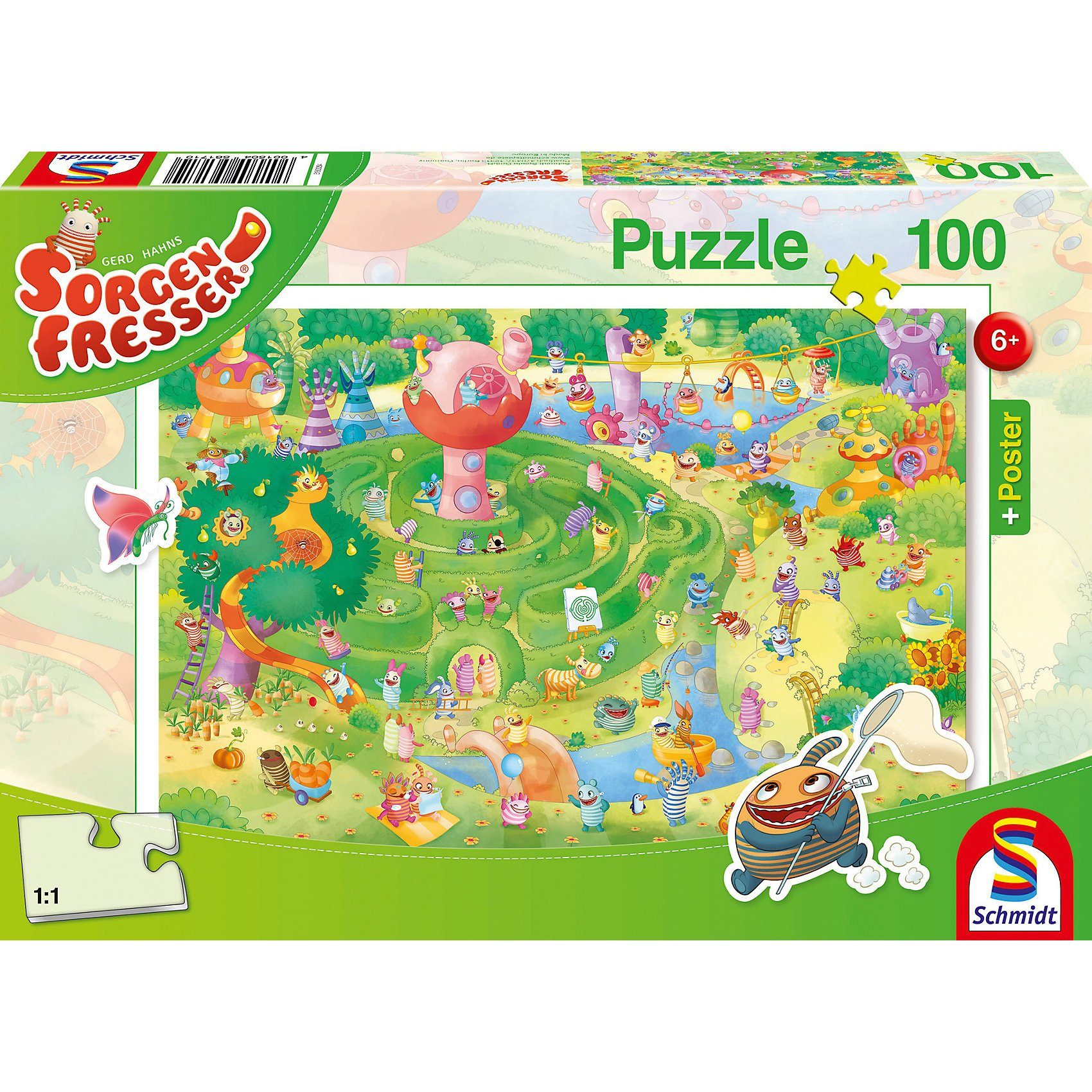 Schmidt Spiele Sorgenfresser: Im Labyrinth, Puzzle inkl. Poster, 100 Teile