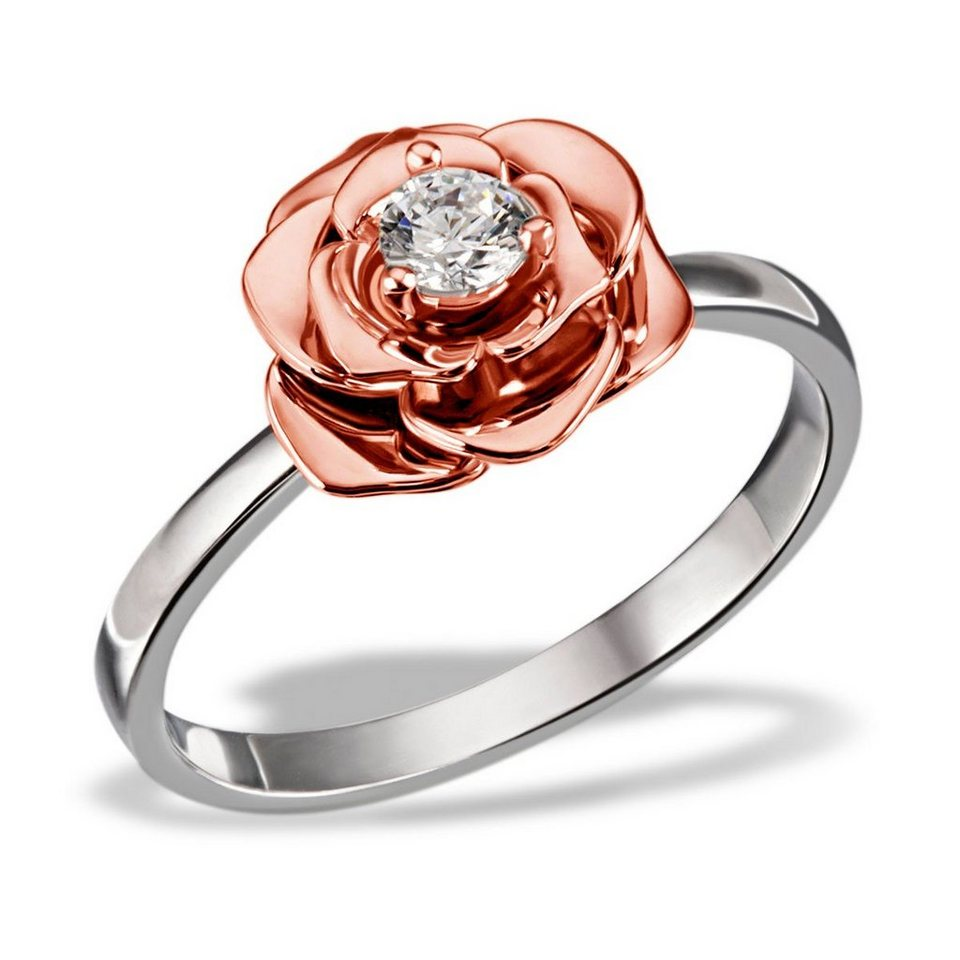 goldmaid Damenring Lovely Rosé 925/- Sterlingsilber teilweise rot vergold in Bicolour