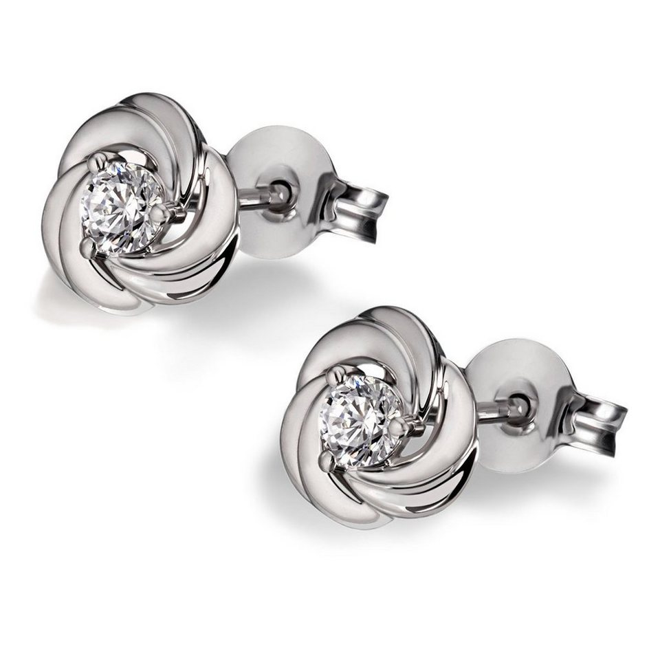goldmaid Paar Ohrstecker White Rose 925/- Sterlingsilber gesetzt mit 2 Sw in silberfarben