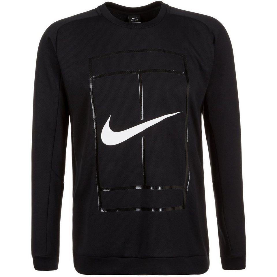 NIKE Court Crew Tennissweat Herren in schwarz / weiß