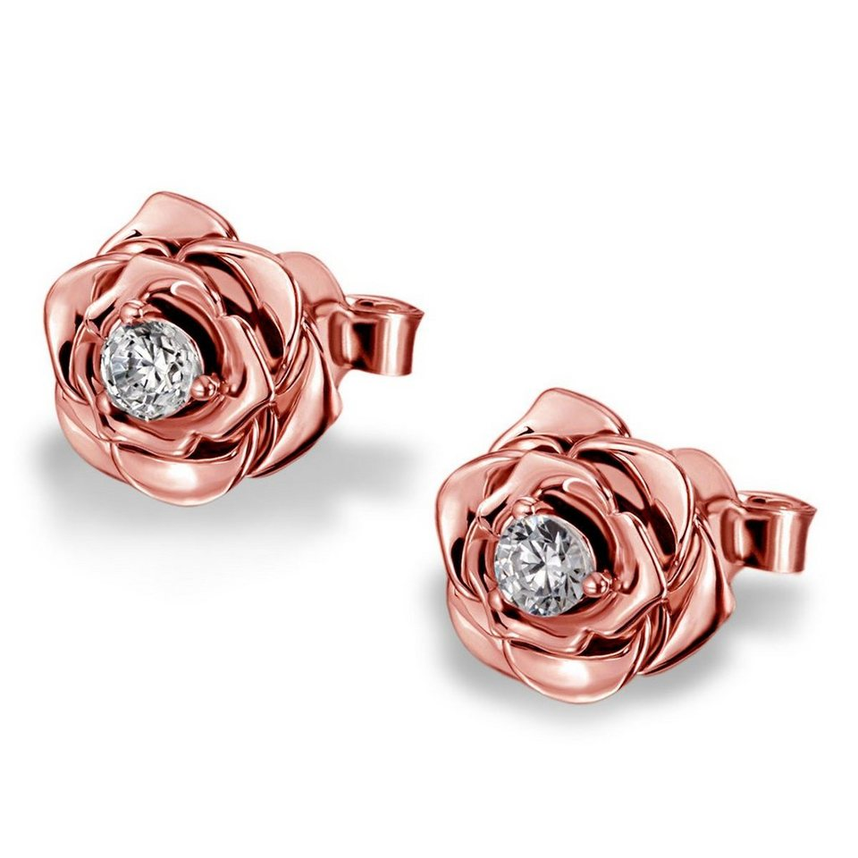goldmaid Paar Ohrstecker Lovely Rosé 925/- Sterlingsilber teilweise rot v in roségoldfarben