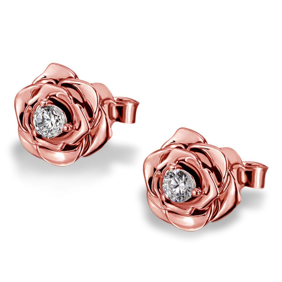 goldmaid Paar Ohrstecker Lovely Rosé 925/- Sterlingsilber teilweise rot v