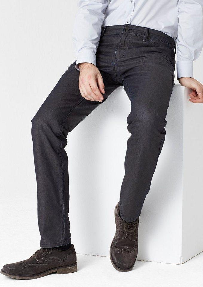 s.Oliver PREMIUM Stretto Straight: Beschichtete Jeans in dark denim blue