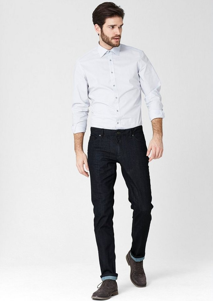 s.Oliver PREMIUM Stretto Straight: Stretchige Raw Denim in dark denim blue