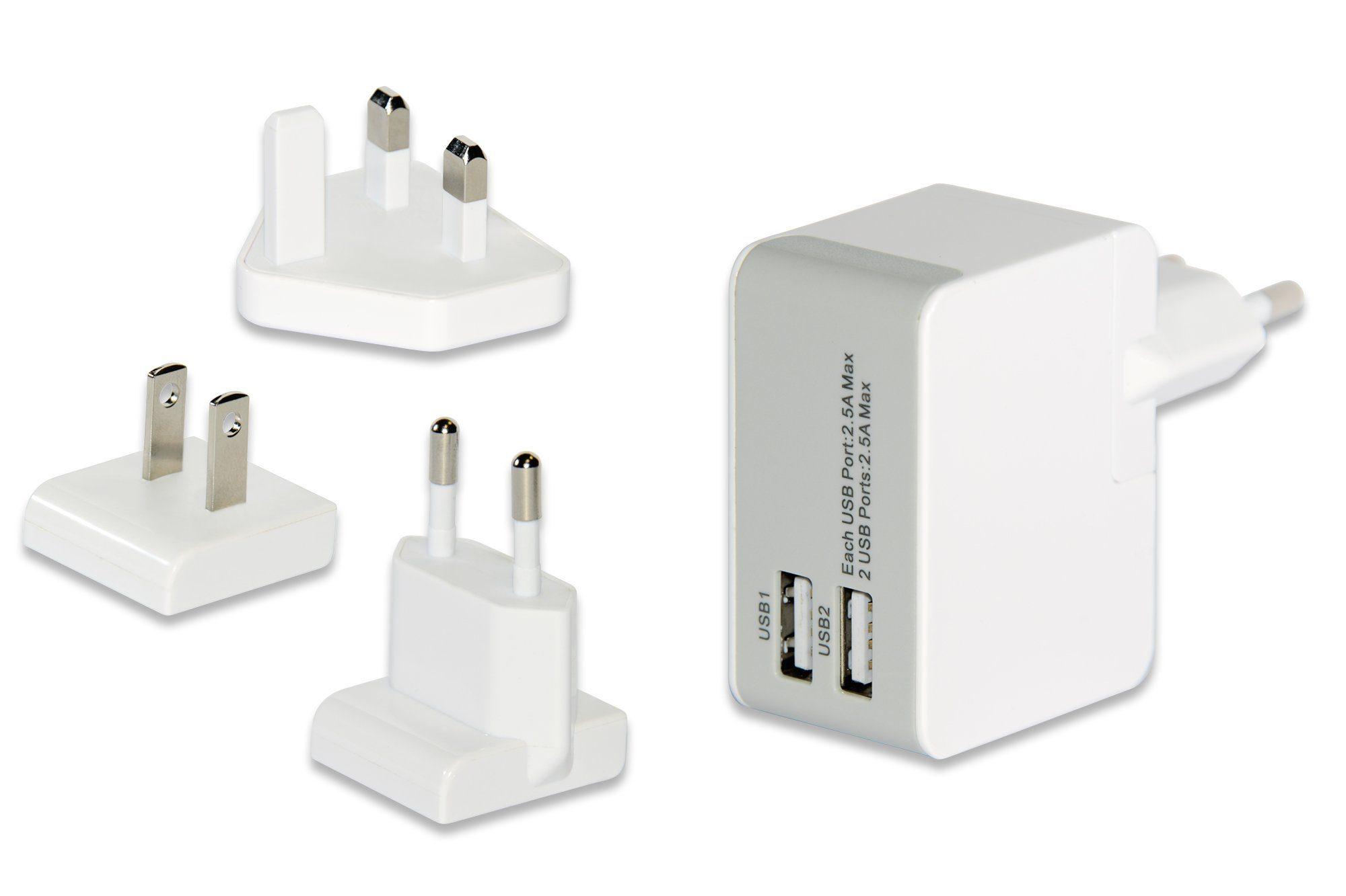 Ednet Ladegerät »2 Port USB Universal Reise-Ladeadapter«